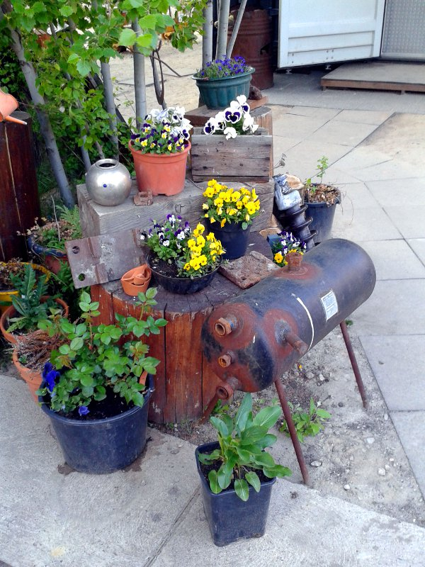 Zahlreiche Blumenkübel stehen neben- und übereinander in einer Ecke