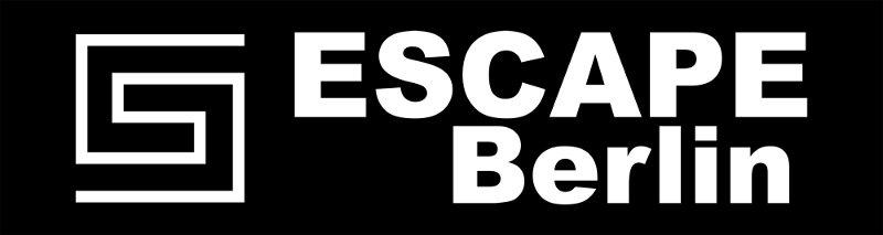 Logo von Escape Berlin, weiße Schrift auf schwarzem Grund