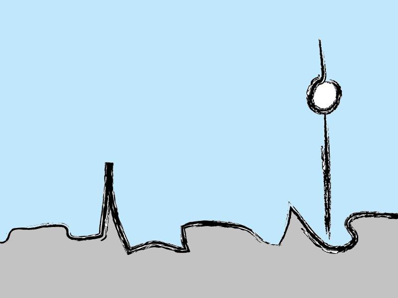 Zeichnung des Fernsehturms vor groben Häusern