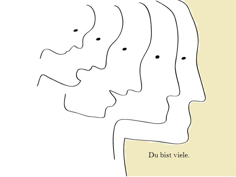 Zeichnung vieler Gesichter, die ineinander übergehen