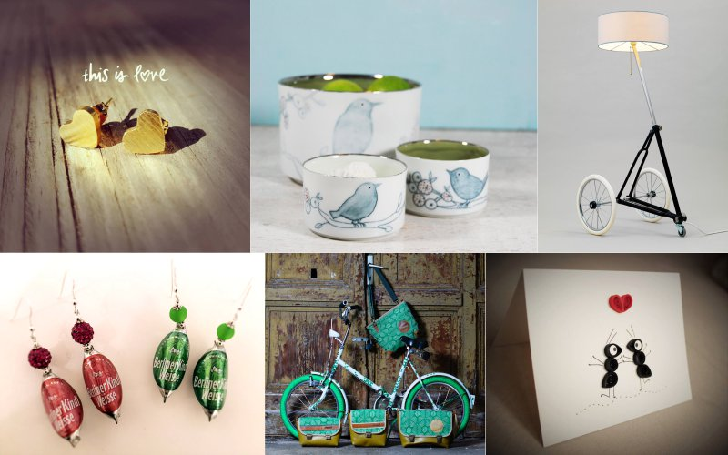 Ohrstecker, Tassen, Lampe aus Fahrrad, Ohrhänger aus Kronkorken, Taschen, Karte