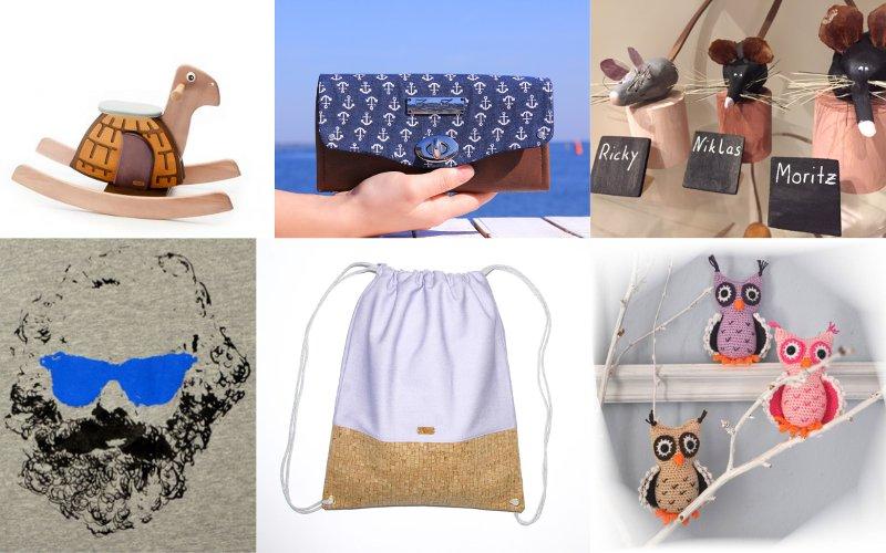 Holzschaukelpferd, Handtasche, Tonmäuse, T-Shirt mit Karl Marx, Turnbeutel, Strickeulen