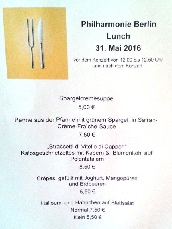 Die Speisekarte vom Lunchkonzert