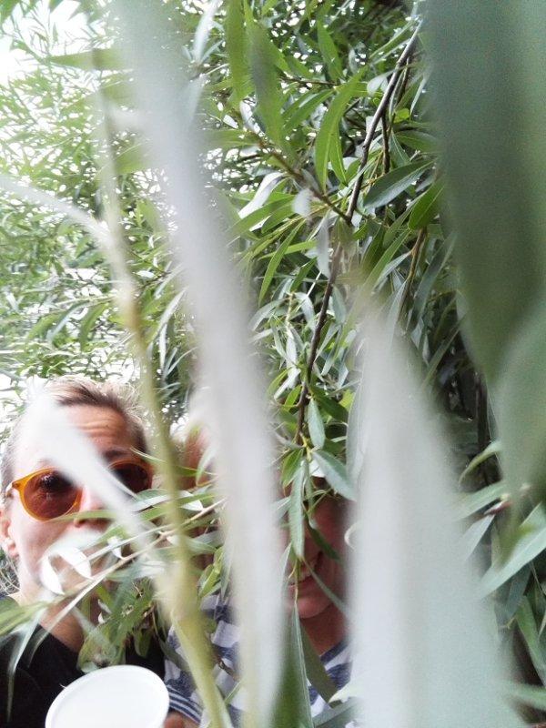 Frauengesicht im Gebüsch